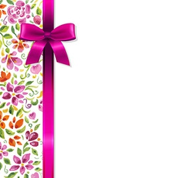 Flowers Card With Ribbon vector image vector image