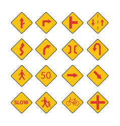 set traffic red signs vector image vector image