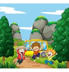 Three happy boys in the park vector image vector image
