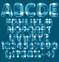 alphabet letters numbers signs from blue felt vector image vector image