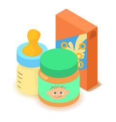 Baby food icon cartoon isometric 3d style vector
