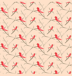 birds on branches pink cute pattern seamless vector image vector image