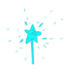 Cartoon hand drawn magic wand with star vector