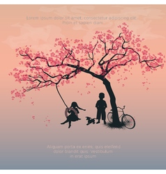 Children playing on a tire swing vector