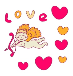 Cupid with bow and arrow for valentines day vector image