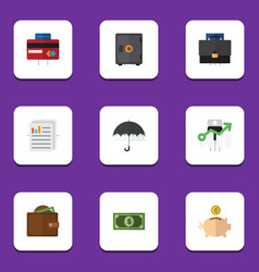 Flat icon gain set of parasol money box vector