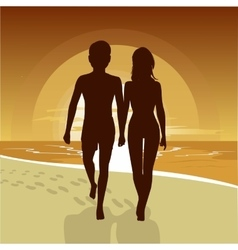 happy couple walking along beach at sunset vector image vector image