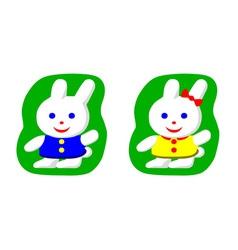 Little rabbit boy and rabbit girl vector image