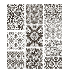 Set of ten patterns black silhouettes vector image vector image