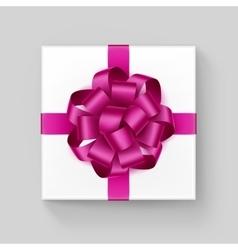 Square gift box with dark pink ribbon bow vector