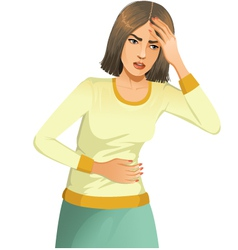 Woman with stomach issues and headache vector image