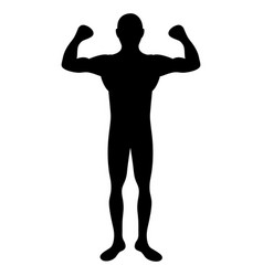 black silhouette big muscle man fitness vector image vector image