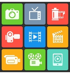 Colorful media icons for web and mobile vector image vector image