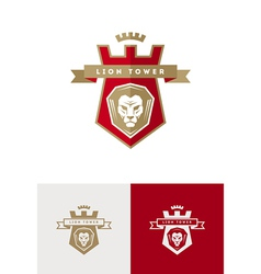 emblem with lion head vector image vector image