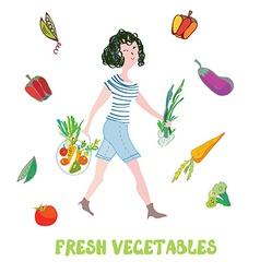 Girl and fresh vegetables card - market vector image