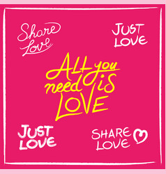 Love concept handwritten lettering quotes set vector