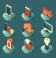 marketing color isometric icons vector image