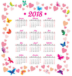2018 year calendar hearts flowers fly vector