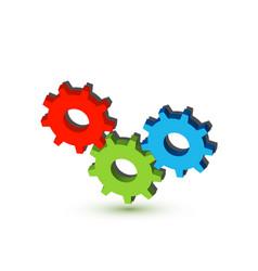 3 multi colored gears logo vector