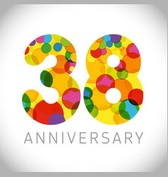 38 years anniversary circle colorful logo vector