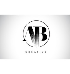 Ab brush stroke letter logo design black paint vector