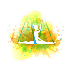 Aero yoga watercolor vector