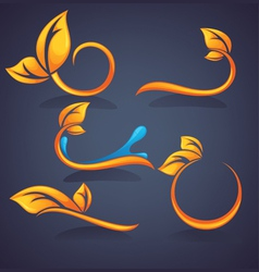 Autumn time floral stickers vector