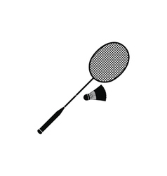 Badminton racket and shuttlecock icon vector image