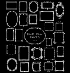 big collection of beautiful hand draw frames vector image