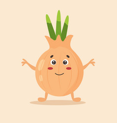 bright poster with cute cartoon onion vector image
