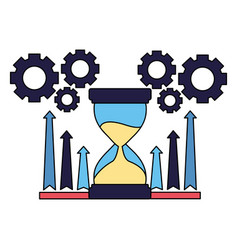 business hourglass chart arrows and gears vector image