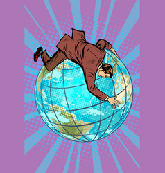 Businessman falls off planet holds onto it vector