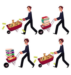 businessman pushing wheelbarrow full of money bags vector image
