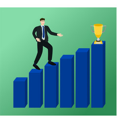 businessman walking on profit graph to trophy cup vector image
