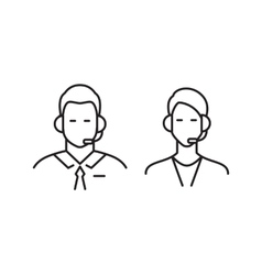 Call center operator line icons vector