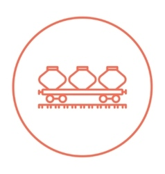 Cargo wagon line icon vector