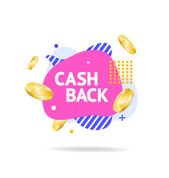 cash back concept with abstract memphis style vector image