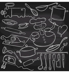 Chalkboard Cooking Set vector image