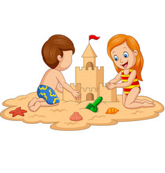 children making sand castle at tropical beach vector image