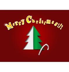 Christmas greating card with x-mas tree vector image