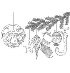 christmas ornamentals for adult coloring book vector image
