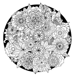 Circle floral ornament Hand drawn art mandala vector