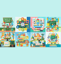 collection flat school education design vector image