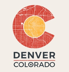 Colorado t shirt print with denver city map vector