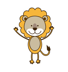 Colorful picture cute lion animal vector