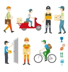 Courier and delivery service set vector