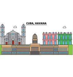 Cuba havana outline city skyline linear vector