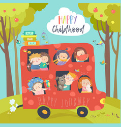 Cute children traveling by bus vector