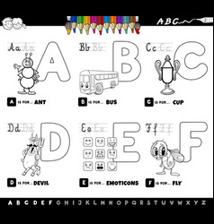 Educational alphabet letters color book for vector