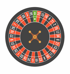 European roulette wheel top view vector